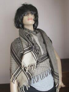 Gucci Guccissima Zinc Black Wool Silk Shawl Scarf Unisex