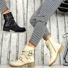 Designer Zapatos Mujer Biker Boots Botines Remaches Hebillas Beige Negro