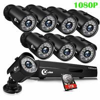 XVIM 1080P HD HDMI DVR 2MP Outdoor Night Vision CCTV Security Camera System 1TB