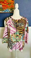 Joseph Ribkoff Women's Zip Jacket Lightweight Stretch Animal 3/4 Sleeve Sz 16