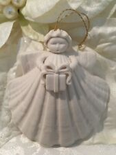 Vintage Margaret Furlong 1991 Shell Angel Christmas Ornament Gift Present Bisque