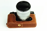 Brown Leather Half case bag grip for Fujifilm X-E2 X-E1 camera XE2 XE1