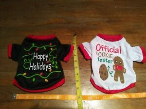 Official cookie Tester & Happy Holidays Pet Costume Christmas shirts Sz S