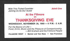 Thanksgiving Jam Dead Airplane Janis Original Bg Fillmore Concert Ticket 1969