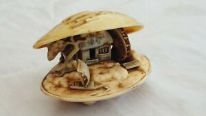 Vintage Celluloid  Shell Water Wheel house in shell.Anabori Netsuke.