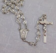 Vintage 1940'S CLEAR Faceted Glass STERLING SILVER  ROSARY Lady of Mt Carmel