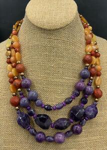 Barse Ecuador Beaded Necklace- Triple Strand- Mixed Stones- Bronze- NWT