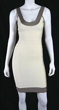 HERVE LEGER $980 Papyrus & Taupe Colorblock GWYNETH Bandage Dress S