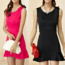 Patternless Round Neck Party Dresses for Women