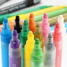 12 Color Acrylic Paint Marker Pens 4mm Point Tip Art Permanent Paint Pen Set