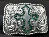 Western Belt Buckle With Green Sequins Cross New
