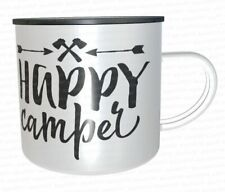 Emaille tasse 12oz Blech weiß Happy Camper Outdoor Camping Caravan Survival