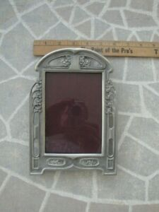 Vintage Elias Fine 1896 Pewter RECTA Photo Picture frame with easel glass SN 925