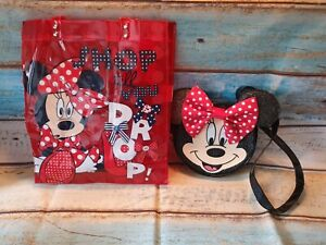 Minnie Mouse Face Cross Body Bag with 3D Ears & Plastic Tote Shopper Bag