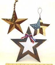 3 Patriotic Americana Stars Metal Wood Painted Flag Xmas Ornaments Decorations