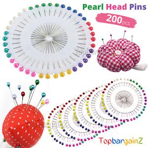 200pcs Pearl Head Pins Scarf Hijab Round Headed Straight Dressmaking Sewing