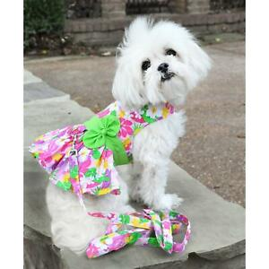 Doggie Design Pink Hawaiian Floral Dog Harness Dress with Matching Leash