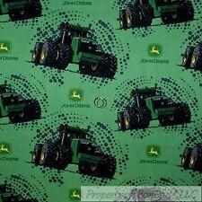 BonEful Fabric Cotton Quilt Green Black Yellow John Deere Tractor Logo Dot SCRAP