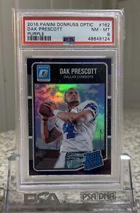 Dak Prescott PSA 8 Donruss Optic Purple Rated Rookie #162 Dallas Cowboys Card