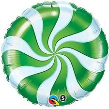 """CHRISTMAS CANDY CANE GREEN SWIRL WILLY WONKA SWEET 18"""" FOIL BALLOON!"""