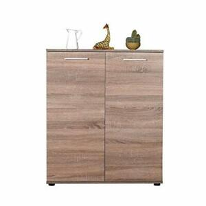 Shoe Cabinet.Two Doors. Latte Oak Finish.5 Adjustable shelves.Up to 30 Pairs.