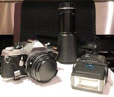 Pentax Asahi ME Camera with  Sakar zoom lens and Sakar flash