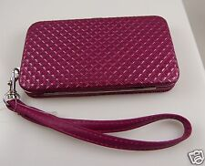 for Iphone & iphone 5 smart phone,  Id holder Fuscia pink wallet wristlet