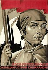 Arte cartel de trabajadores para mujer 1920 impresión de propaganda soviética