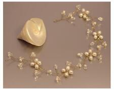 Gold finish Wedding Hair Accessory Vine Real Freshwater Pearls Clear Crystal UK