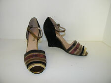 ANTHROPOLOGIE FARYLROBIN sz 7 SHOES WEDGE PEEK TOE MULTI COLOR BLACK SUEDE HEELS