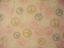 PEACE SYMBOLS PINK PASTELS COTTON FLANNEL FABRIC OOP FQ