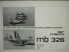 5/1964 PUB AVION AERMACCHI MB 326 JET TRAINER ALITALIA PILOT SPANISH AD