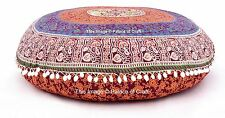 2 PC Pillow Cover Indian Handmade Mandala Round Cushion Case Ottoman Pouf Cover
