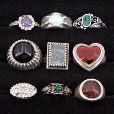 VTG Sterling Silver - Lot of 9 Solid & Gemstone Rings REPAIR/SCRAP - 44g