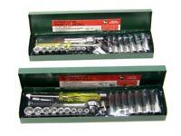 "44pc 1/4"" Dr Socket  Ratchet Handle extension bar Universal joint set Metric SAE"
