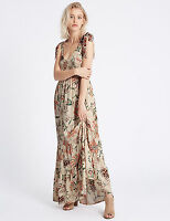 NEW LADIES M&S MARKS AND SPENCER INDIGO MAXI FLORAL DRESS SZ 8 - 20 RRP £49.50