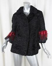 BY WALID Womens Black Persian Lamb Fur+Red Feather Sleeve Coat Jacket M/L NEW