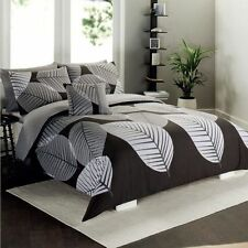 Queen Size Bed Quilt/Duvet Cover+Pillowcase Set-Wild Leaf Design