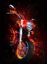 DIY Diamond Painting Embroidery 5D - FIRE MOTORCYCLE- 30 X 20 CM- STOCK IN USA