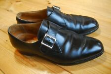 "Crockett & Jones para Gordon Scott Negro Cuero monkstrap Zapatos UK 8.5 F ""devon"""