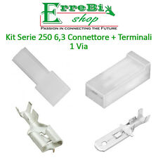 KIT CONNETTORE SERIE 250 6,3 FASTON MASCHIO FEMMINA 1 VIA + TERMINALE AUTO MOTO