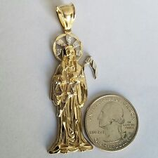 "Big 10k white yellow Gold santa muerte Grim Reaper angel death Pendant 2 .50"" lg"