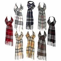 Luxury Wool Blend Unisex Checked Tartan Winter Scarf