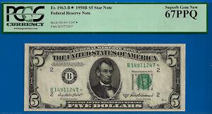 Near TOP POP - 1950-B $5 FRN (( 2ND FINEST - STAR )) PCGS 67PPQ # B14911247*-