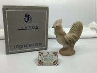 Fenton LE HP Ivory Satin Rooster Figurine 5292 FV 1999 Folk Art Collection W Box