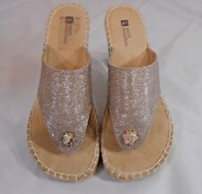 White Mountain BAYWATCH Womens Wedge Flips Size 8.5 M Light Gold Sparkle