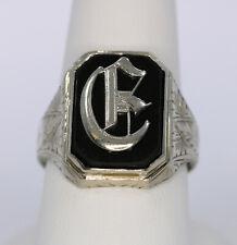 Vintage 10K White Gold Mens Onyx Initial Signet Ring