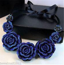 Handmade Ribbon Gradual Resin Flower Bib Statement Choker Collar Beach Necklace
