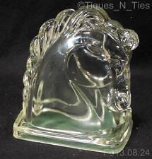 Vintage Federal Glass Horse Head Book End Shelf Decor Conversation Piece (GG)