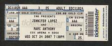 2007 Jennifer Lopez Marc Anthony Unused Full Concert Ticket San Deigo CA